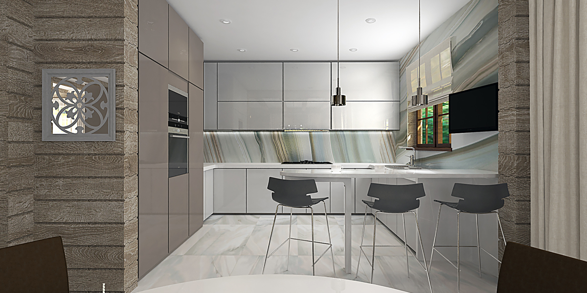 Кухня в доме из бруса